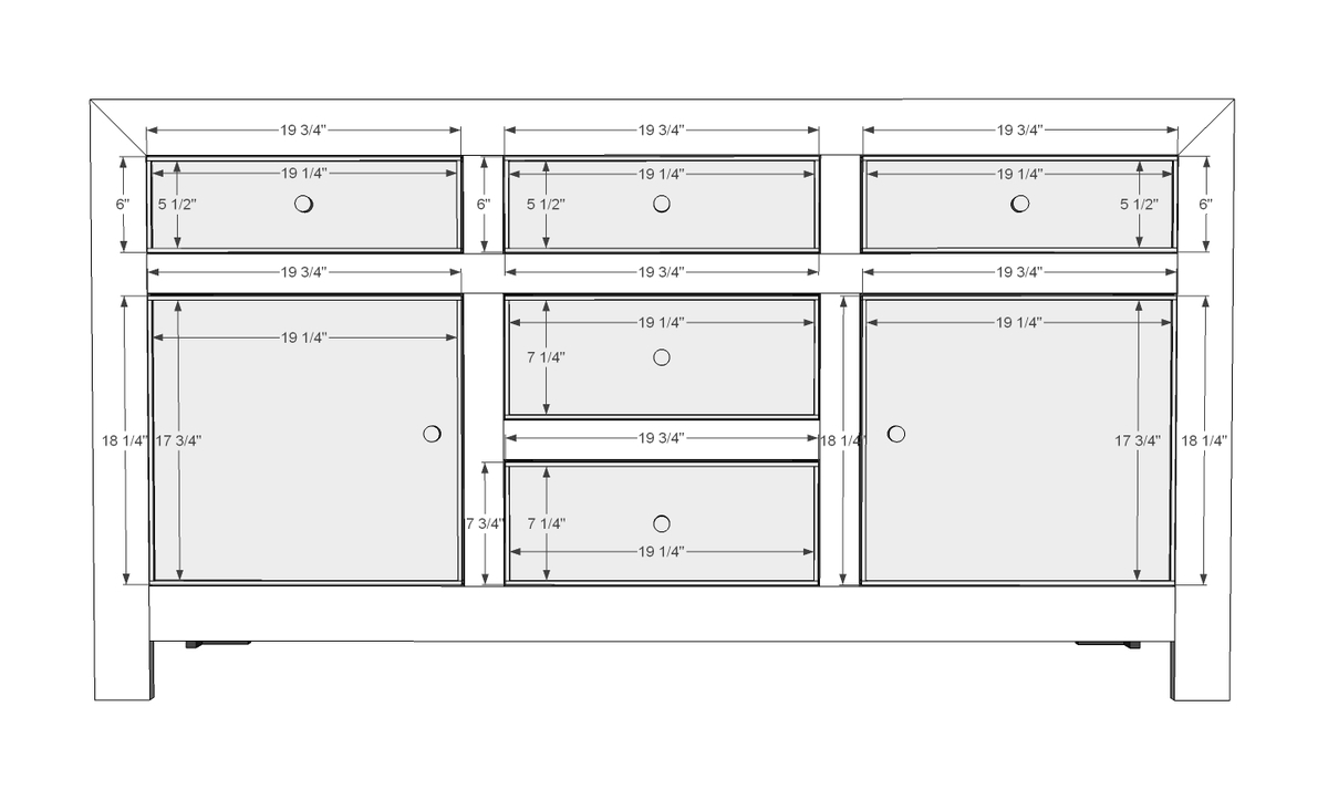 Ana white dawsen media console diy projects for Cabinet widths