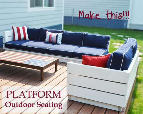 Ana White | Build a Platform Outdoor Sectional with End Table (part 2 ...