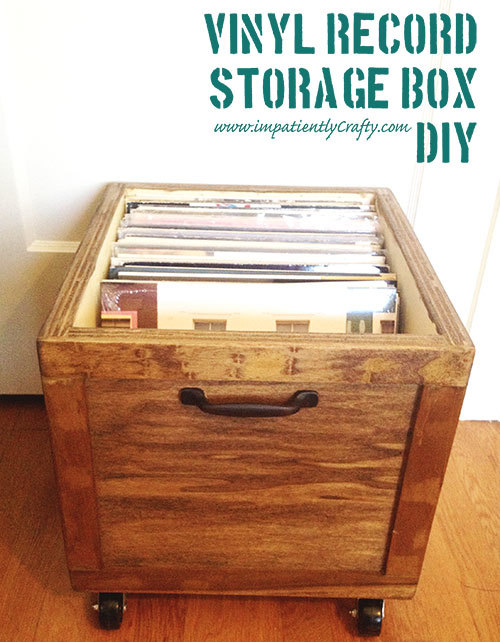 ana white diy lp vinyl record storage box with wheels