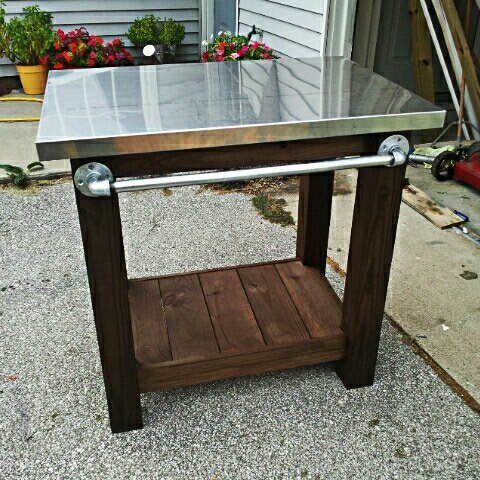 Ana White Grill Table With Stainless Steel Top Diy