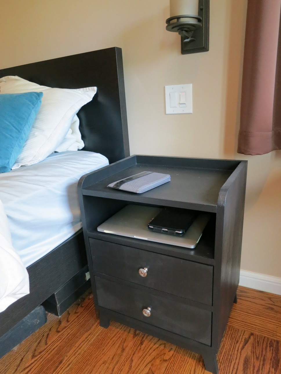 2 Drawer Modern Nightstand With Charging Station Ana White