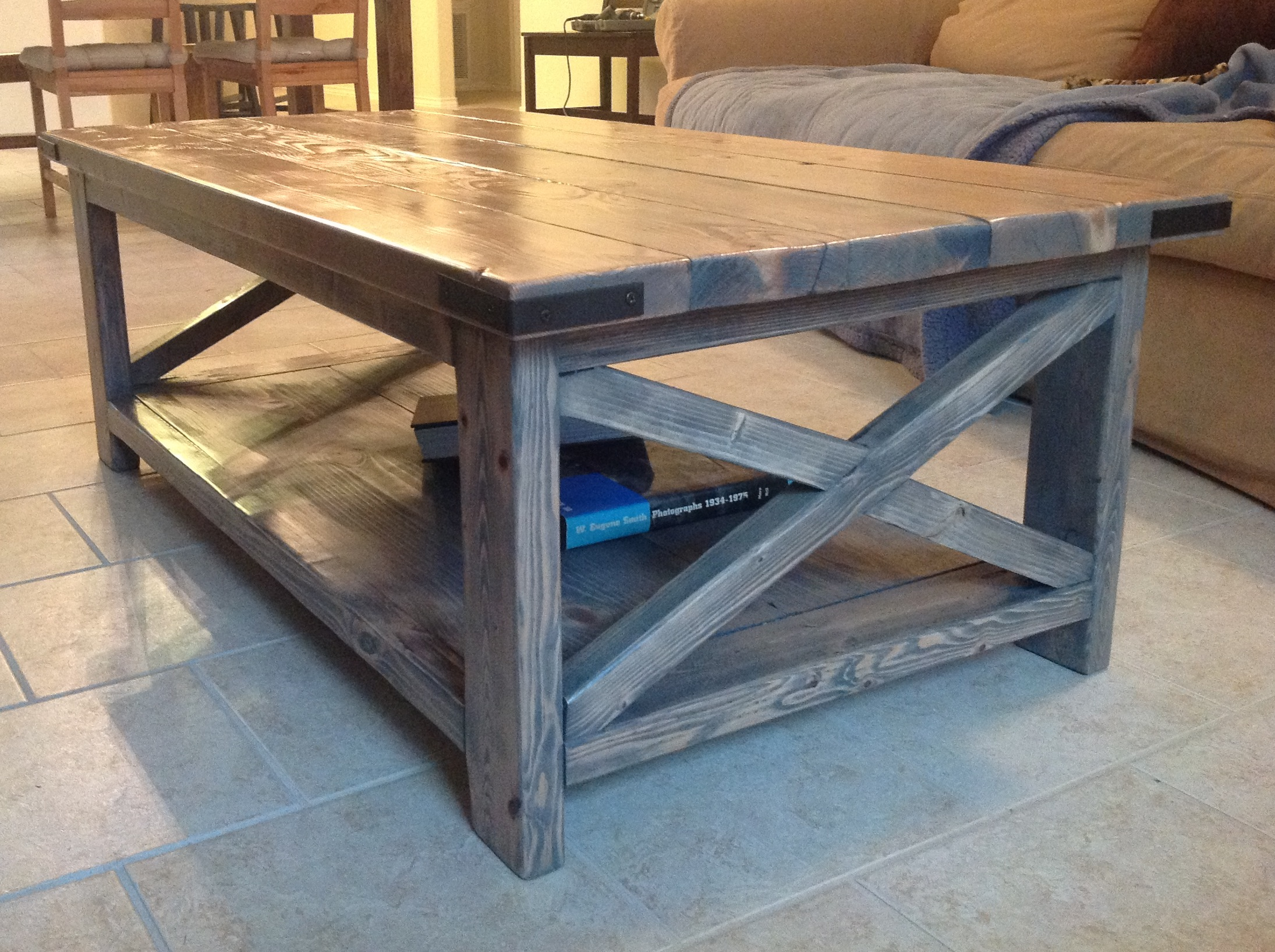 Rustic X Coffee Table With Minwax Clic Gray Stain Ana White