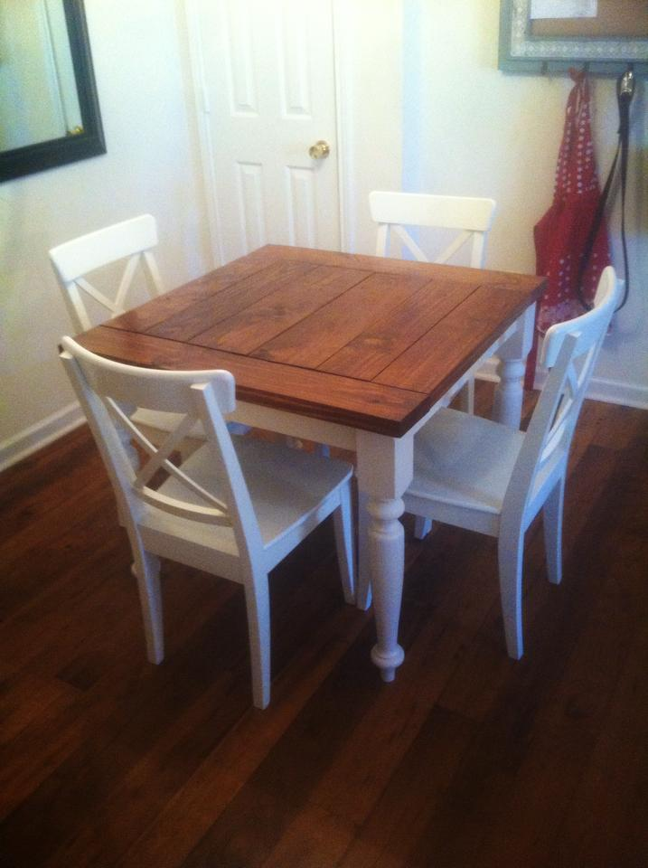 Ana white square turned leg farmhouse kitchen table for Small kitchen dining table ideas