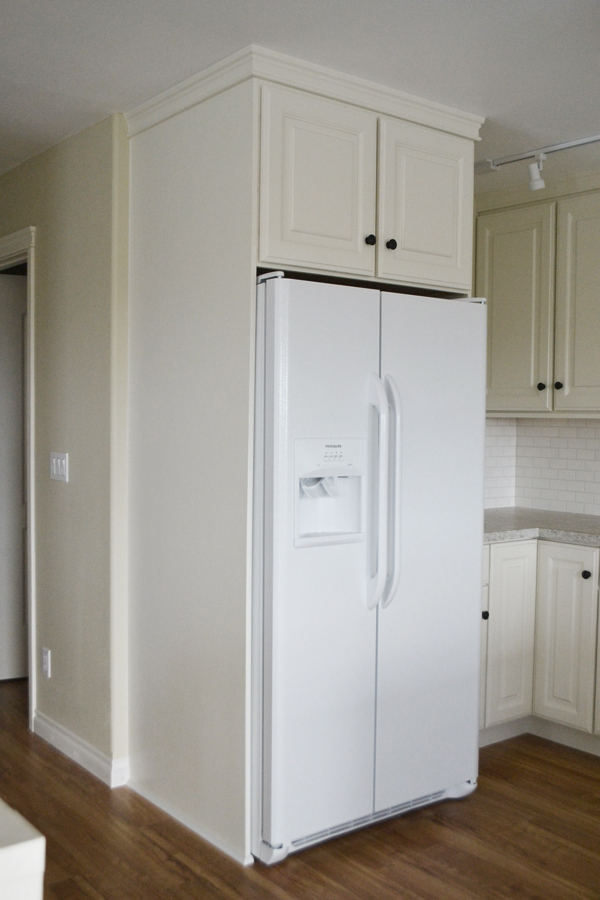 Boxing In Fridge With Cabinetry Momplex Vanilla Kitchen