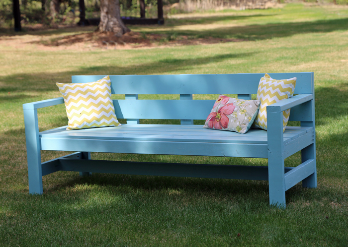 Ana white modern park bench diy projects for Diy garden bench designs