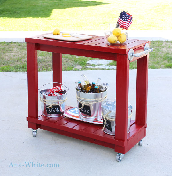 red bar cart with beverages
