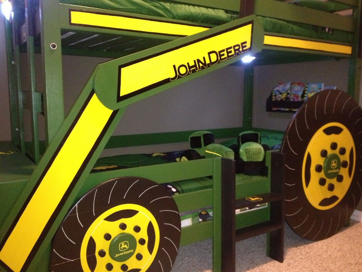 White | Build a John Deere Tractor Toddler Bunk Beds | Free and