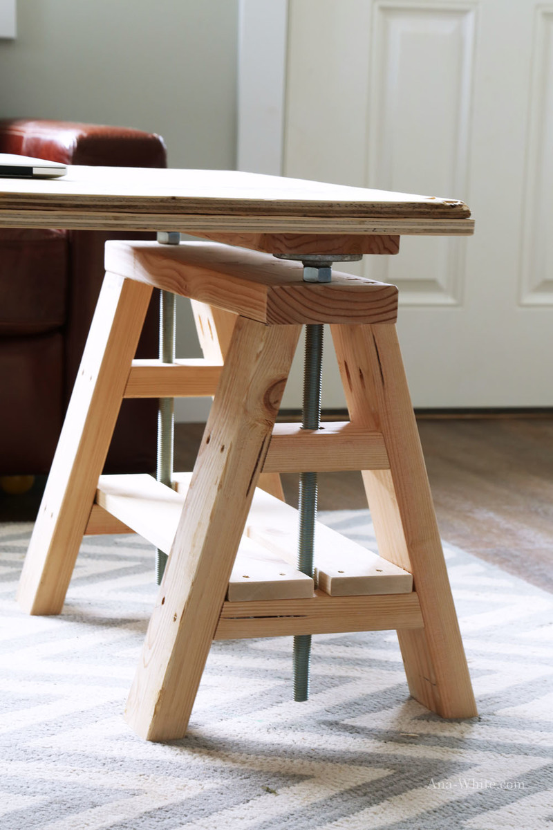 Ana white modern indsutrial adjustable sawhorse desk to coffee table