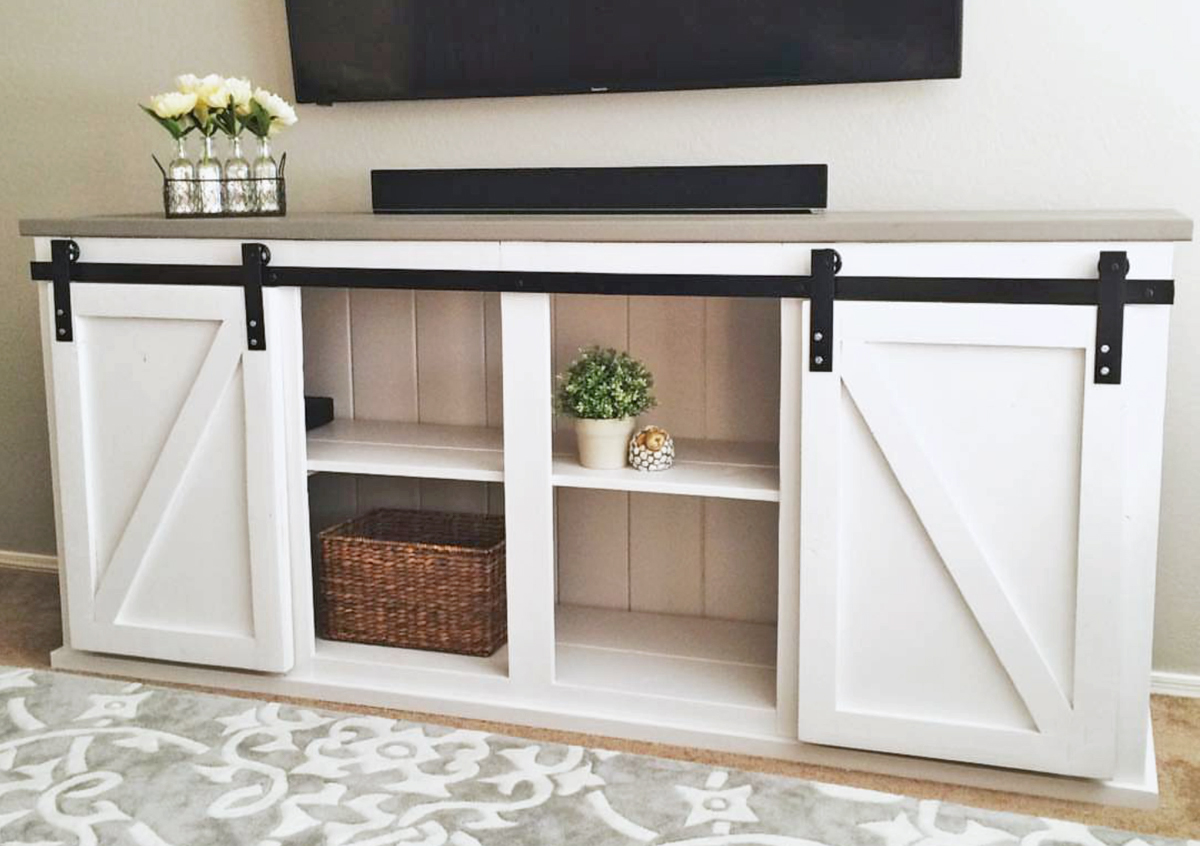 8' long barn door console plans