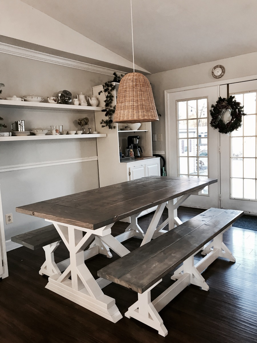 Two Tone Weathered Gray X Farmhouse Table And Benches Ana White