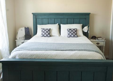 blue farmhouse bed