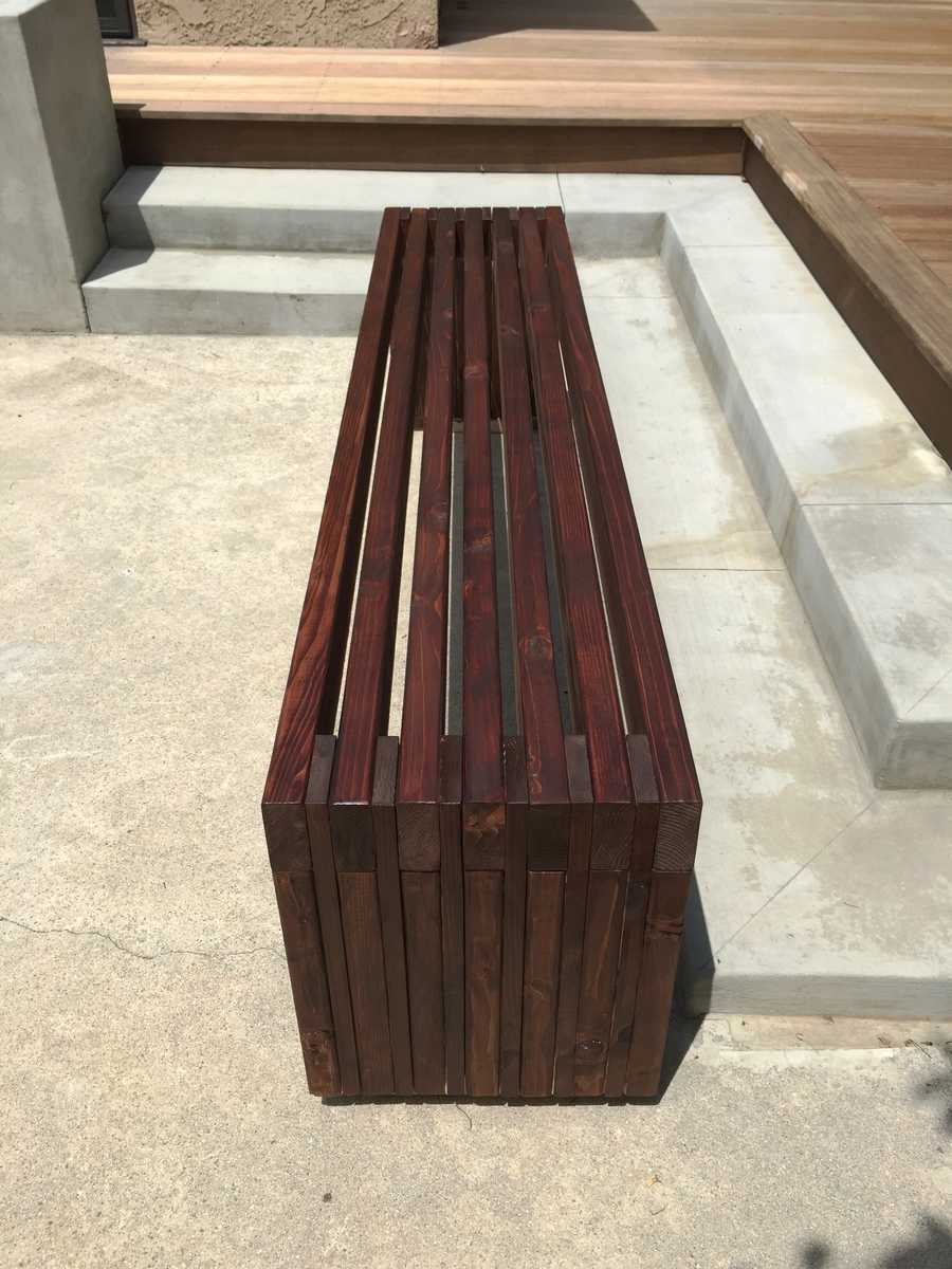 Modern Slat Top Outdoor Wood Bench - DIY Projects