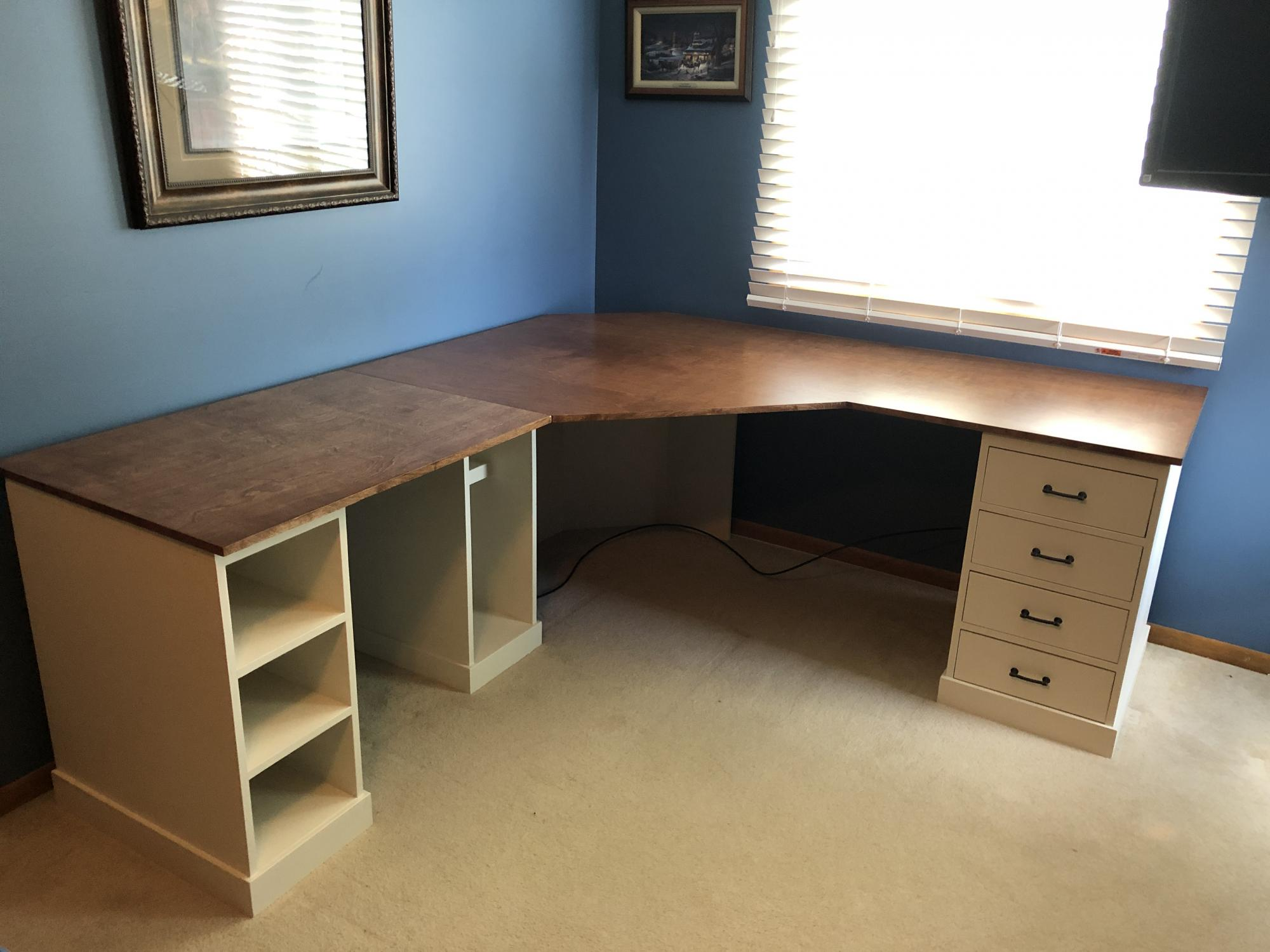 Desk with drawers and open cabinets  Ana White