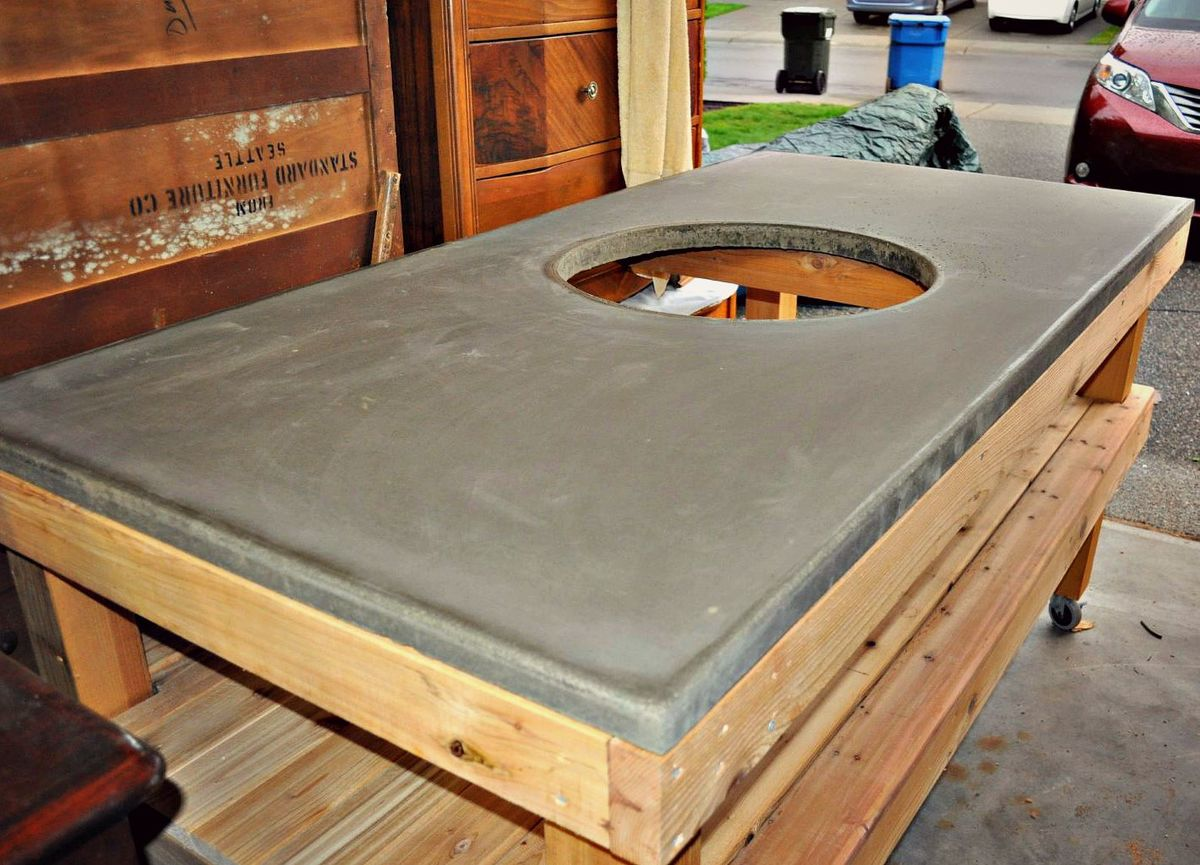 Diy Big Green Egg Grill Table With Concrete Top Ana White
