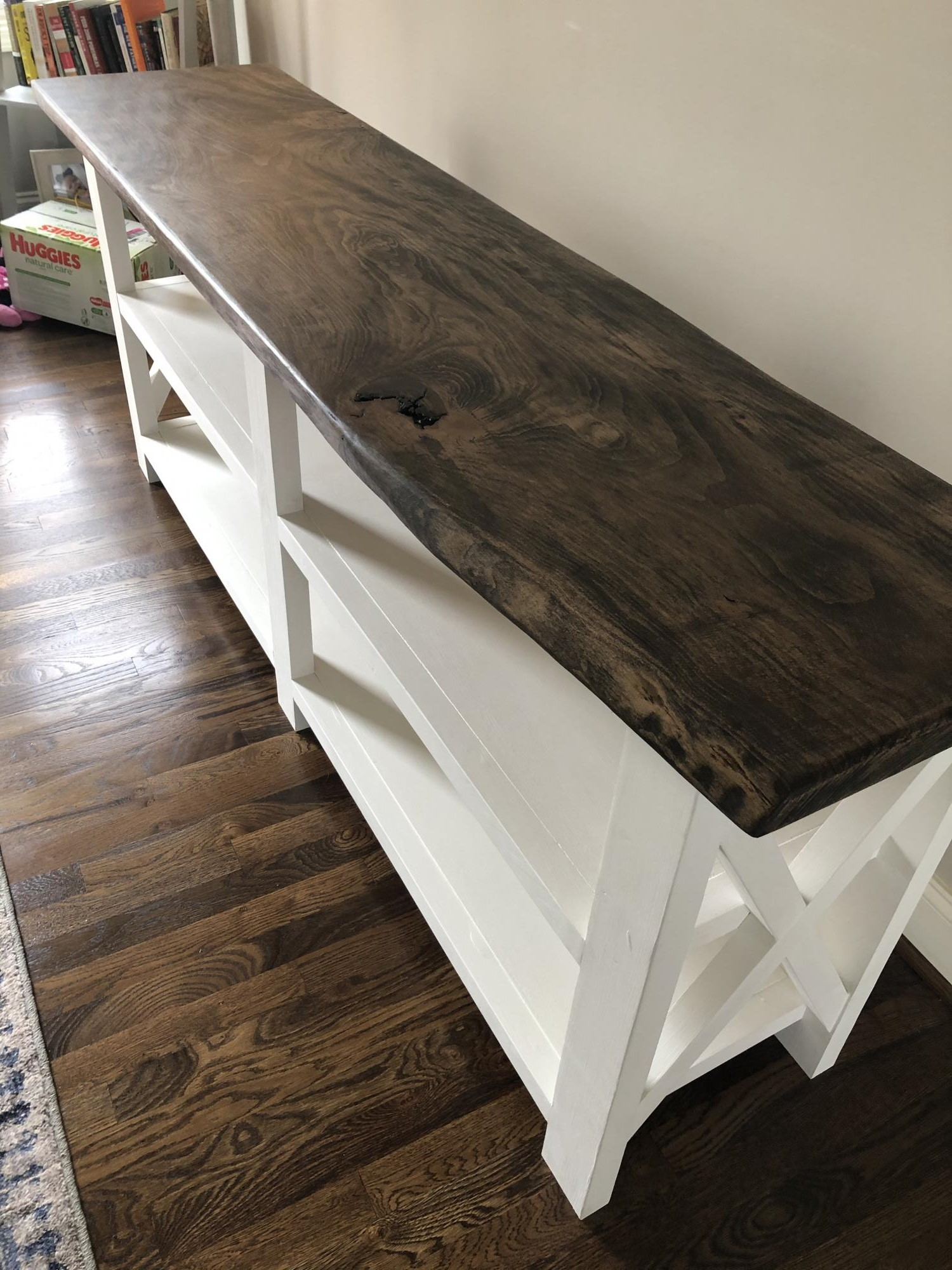 Rustic X Console Table With Live Edge Top Ana White