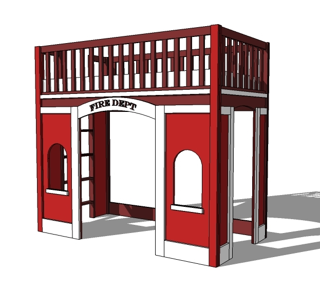 fireman playhouse bed