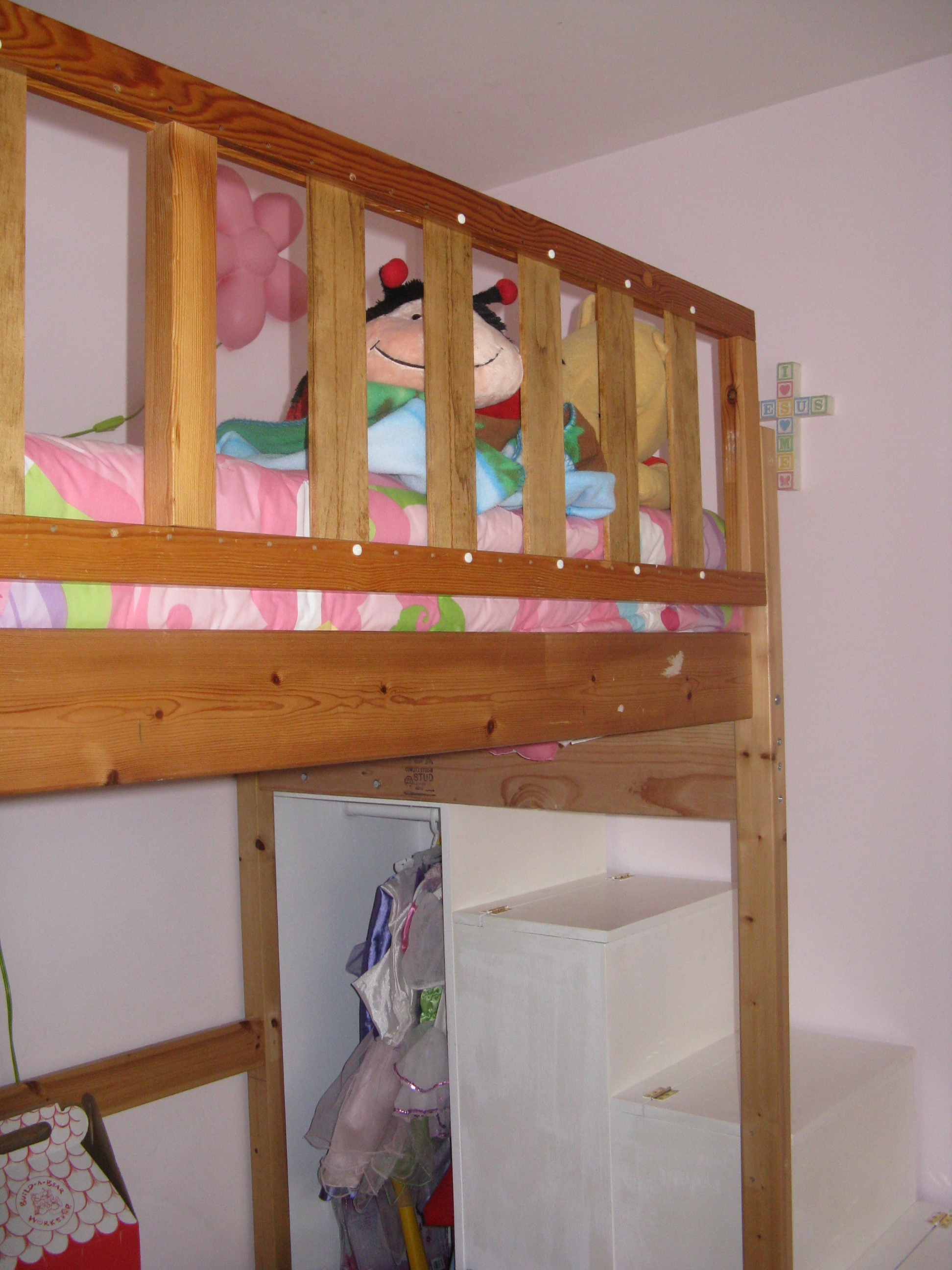 First Project Loft Bed Stairs New Rail Ana White