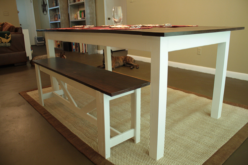 rustic table bench plans