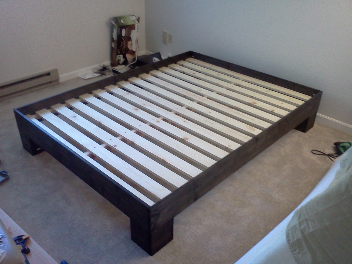 Industrial Bed Frame Diy Chunky leg bed frame slightly