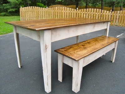 Ana white modern farmhouse kitchen table with bench diy projects - Kitchen table bench plans ...