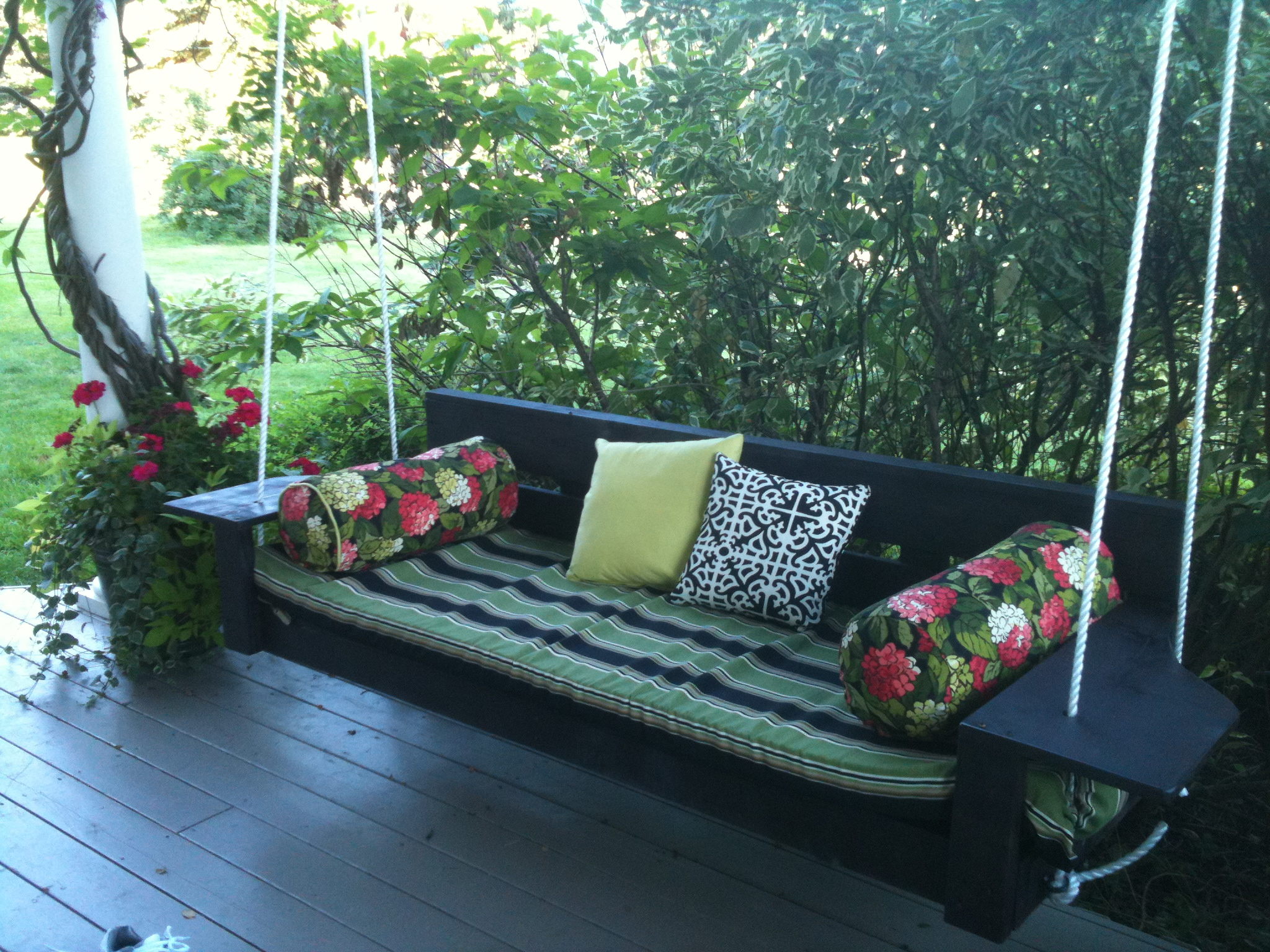 Ana white modern oversized porch swing diy projects for Modern swing set design