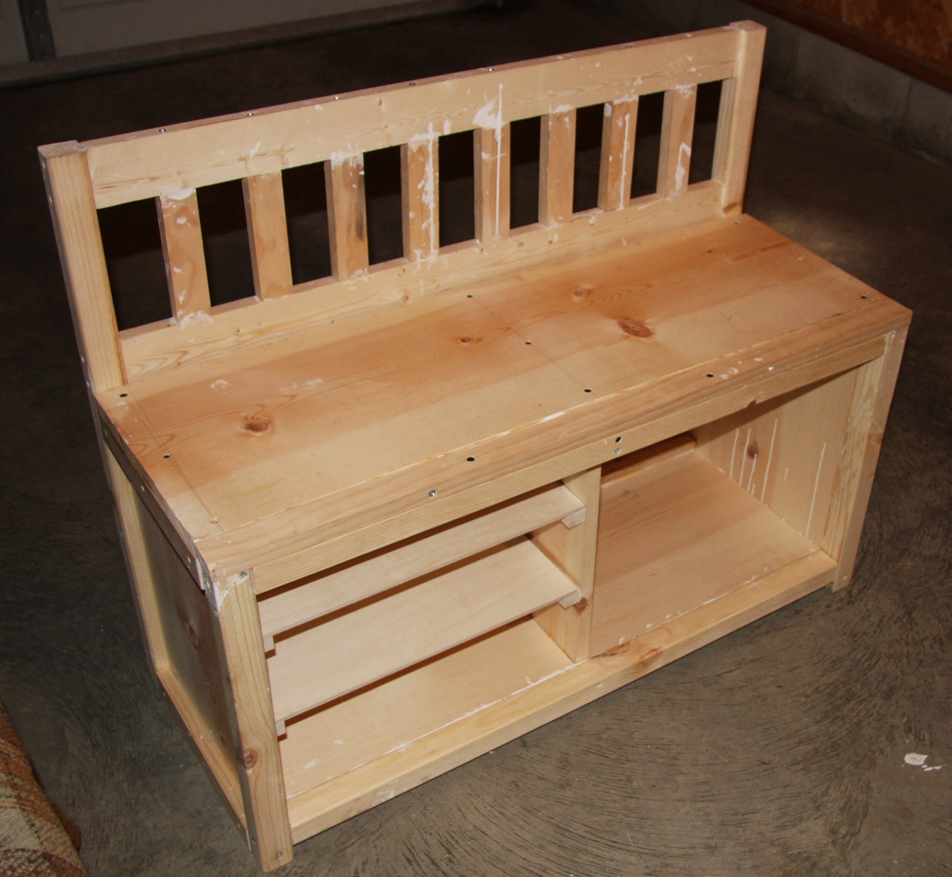 wood shoe storage bench plans | woodproject