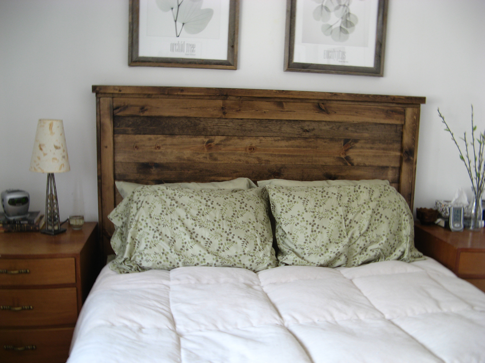 First Project Reclaimed Wood Look Queen Headboard Ana White