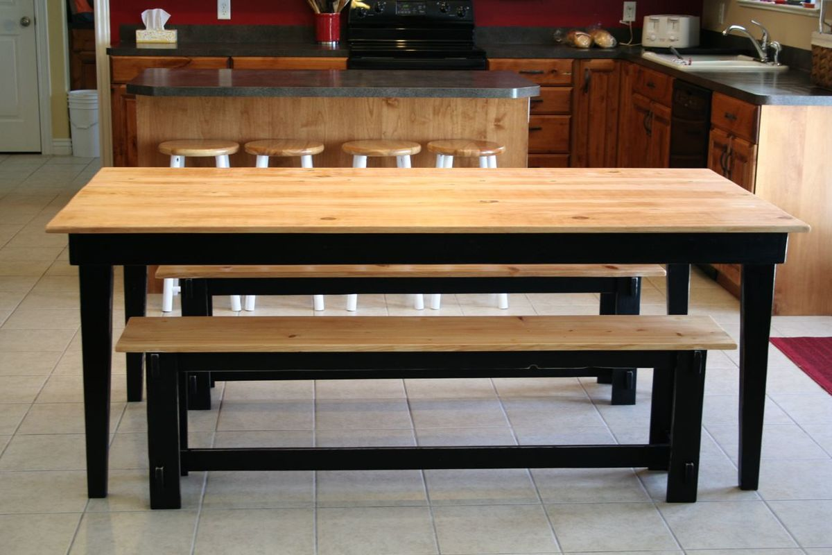 Ana white rustic farm table and benches diy projects - Building kitchen table ...