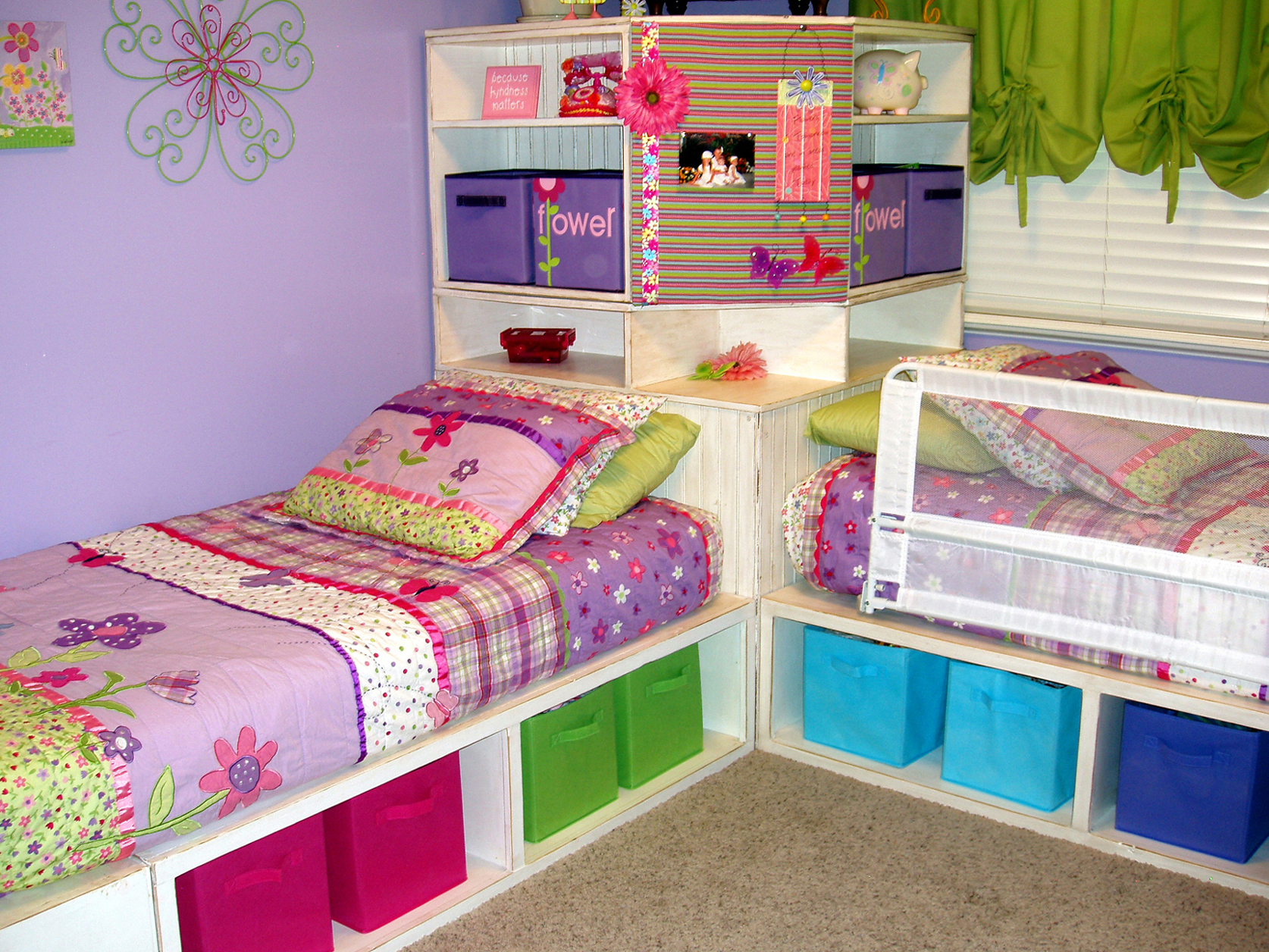 Ana white twin storage beds with corner hutch diy projects for Boys twin bed with storage