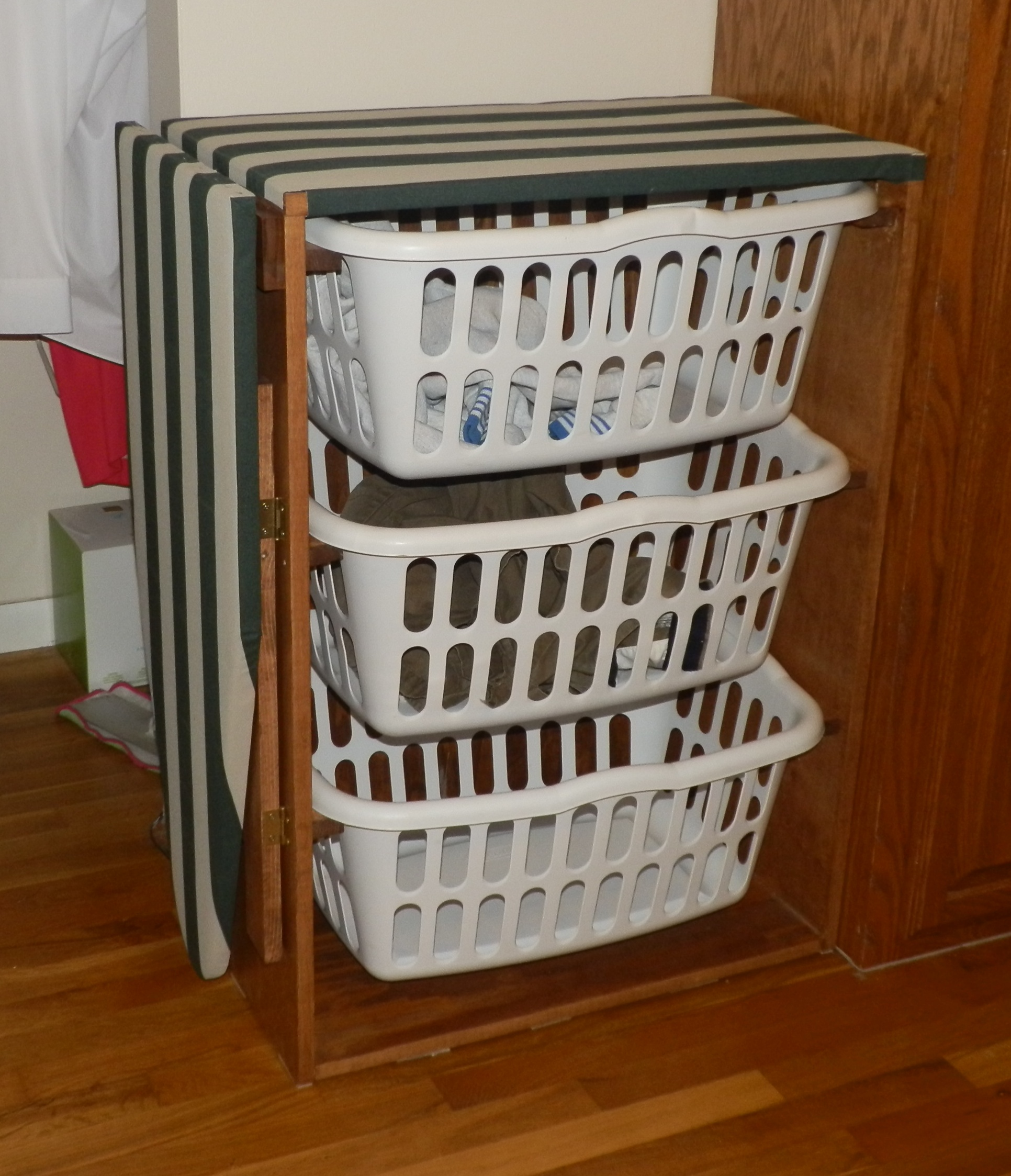 how to build drop down ironing board | Laundry basket dresser with a drop-down ironing board ...