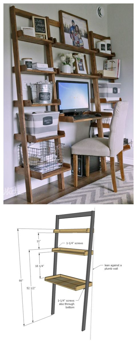 Diy Leaning Wall Ladder Desk How To Build Your Own Out Of All 1x Boards Easy Tutorial By Ana White