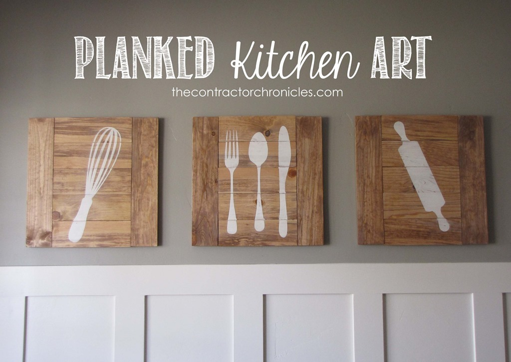 Wall art ideas kitchen : Ana white planked kitchen art feature by the