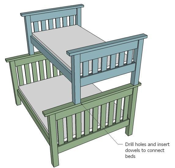 Free Plans For Twin Over Full Bunk Bed - DIY Woodworking Projects