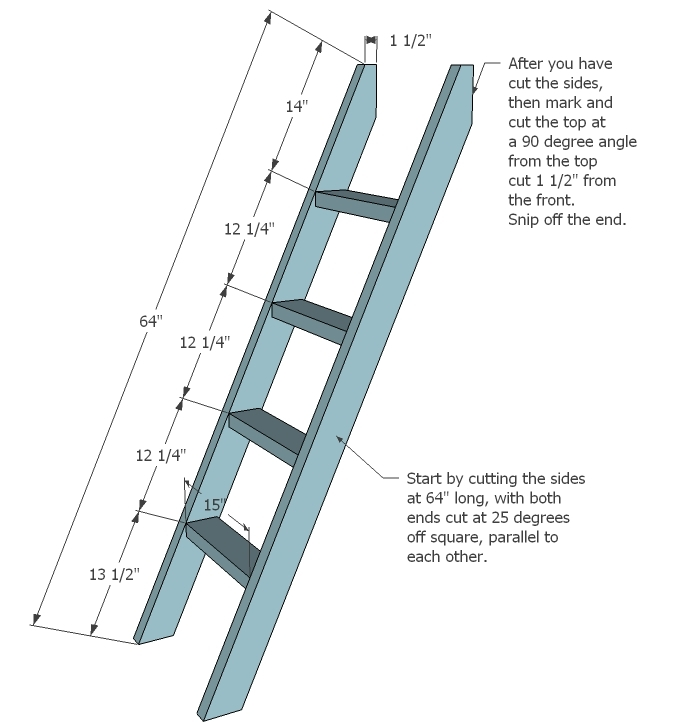 step 4 instructions ladder for the ladder cut two 2x4s