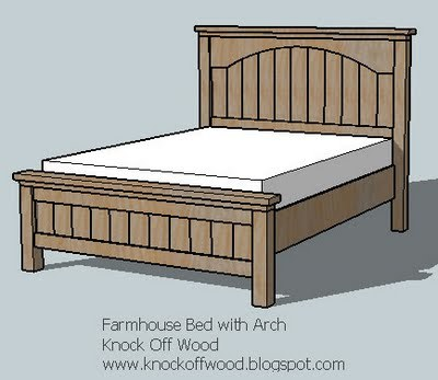 Ana white farmhouse bed with arch diy projects for Farmhouse bed plans