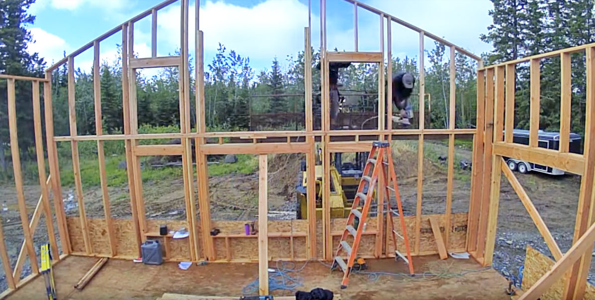 wall framing with big windows