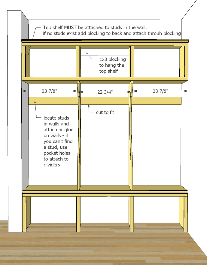 Mudroom organizer building plans joy studio design for Building a mudroom bench