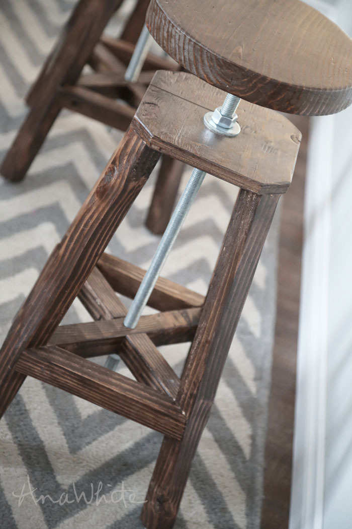 We used scrap wood (including 3/4  construction grade plywood) and 2x2s ripped from 2x4 scraps (you can use off the shelf 2x2s) to make these stools . & Ana White | Industrial Adjustable Height Bolt Bar Stool - DIY Projects islam-shia.org