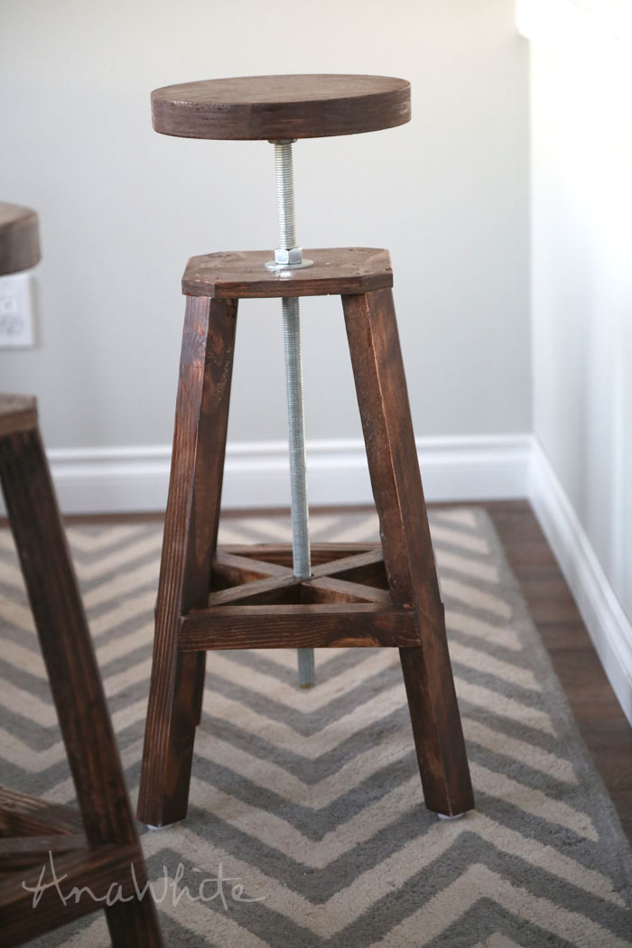 Diy Style Adjule Height Bar Stools Plans By Ana White