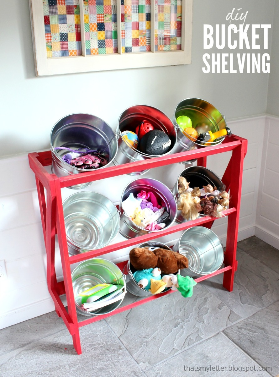 Exhibition Stand Storage : Ana white diy bucket or basket shelf display stand