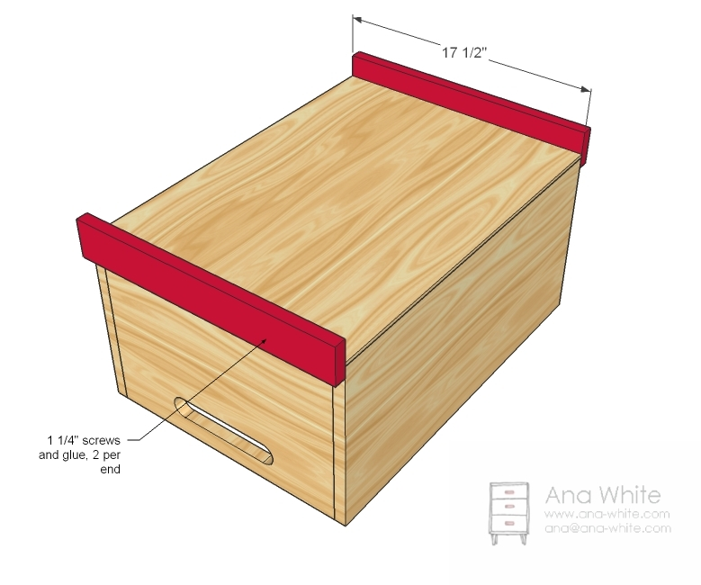 ... allows for this wood toy box to be easily transported. Link Type