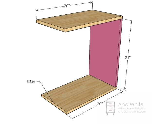 Rolling C End Table or Sofa Table