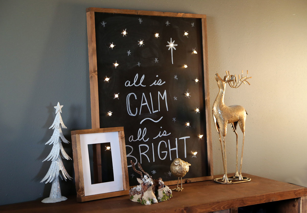 diy lighted holiday chalkboard sign all is calm all is bright tutorial by ana whitecom
