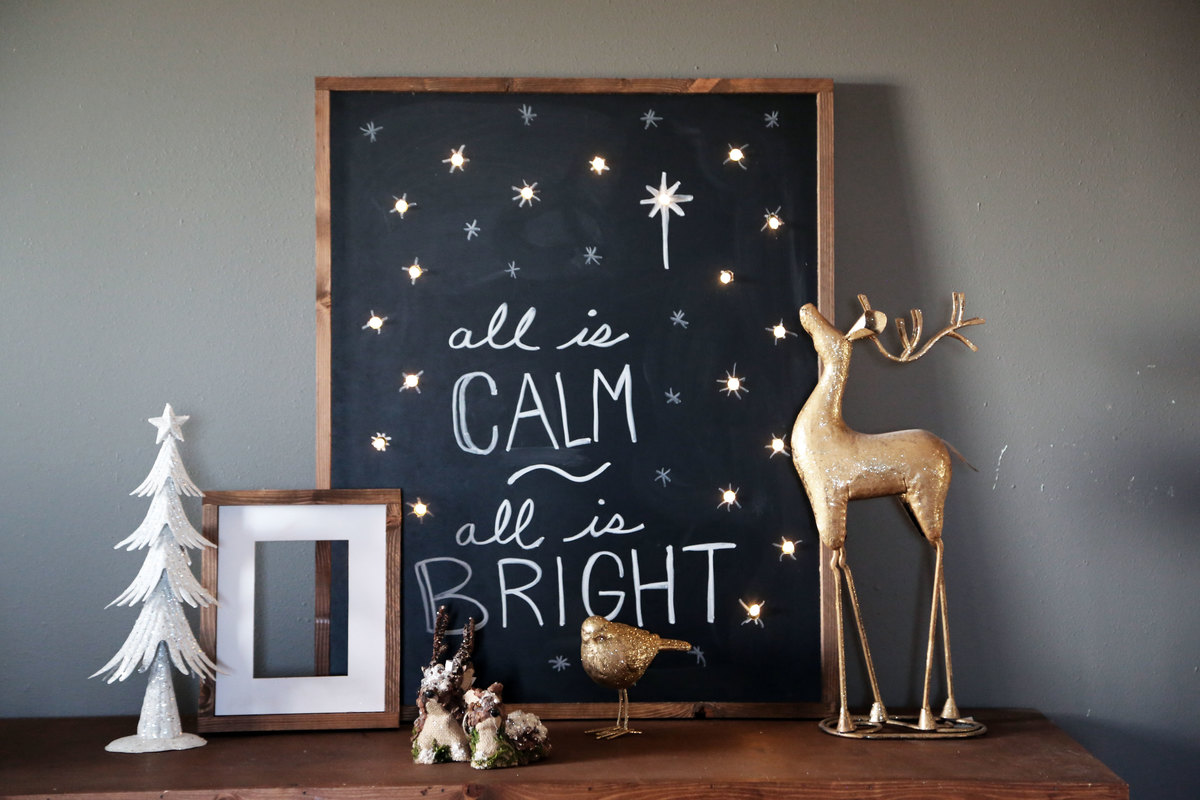 ana white lighted holiday chalkboard sign all is calm all is bright diy projects - Lighted Outdoor Christmas Decorations Home Depot