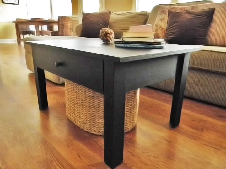 black coffee table with drawer