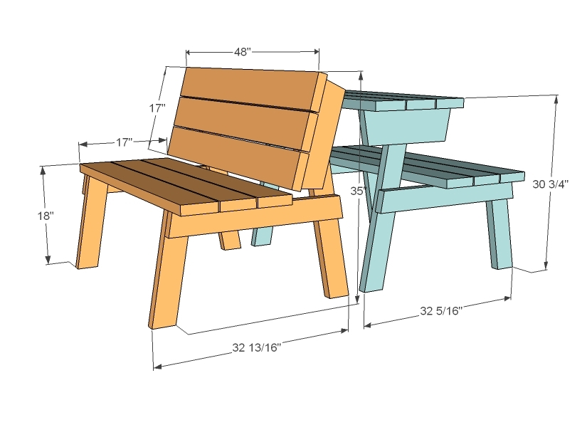 garden bench table plans
