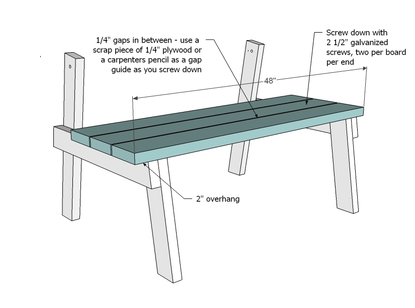 wooden table bench plans