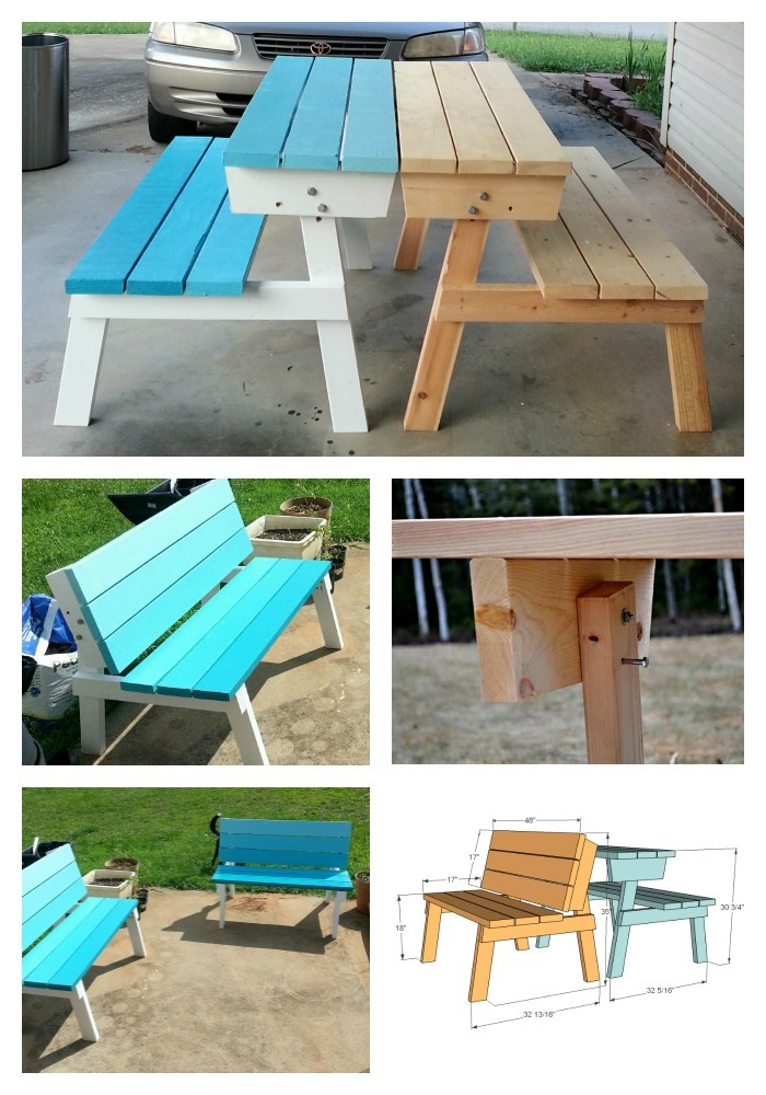 Ana White Picnic Table That Converts To Benches DIY Projects - Picnic table with backrest