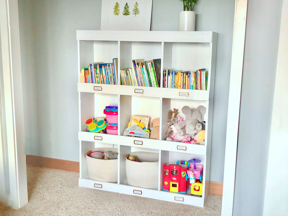 white cubby bookshelf toy storage