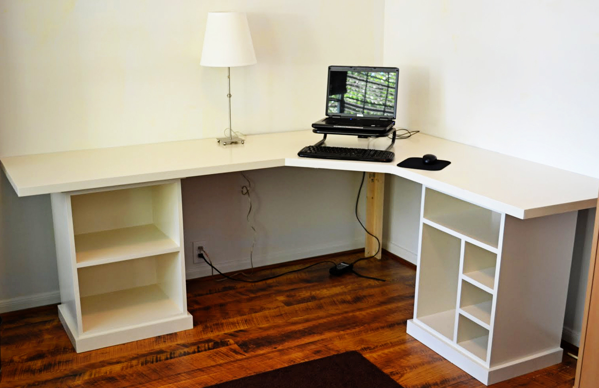 Modular desk finally finished ana white woodworking Diy home office desk plans